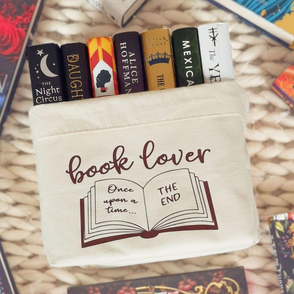 Book Lover Canvas Organiser  Cream -