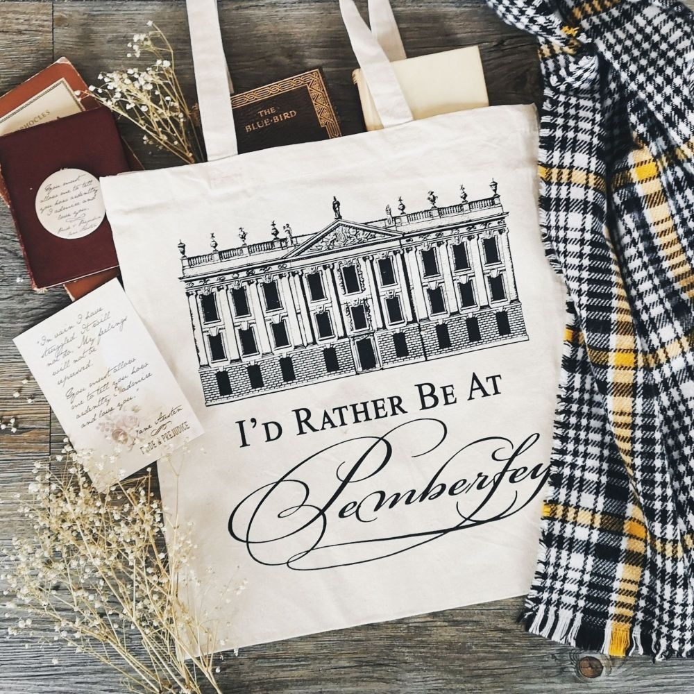 Jane Austen Tote Bag, I'd Rather Be At Pemberley - Original