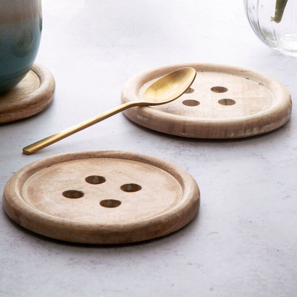 Rustic Wooden Button Coaster - Set of 2