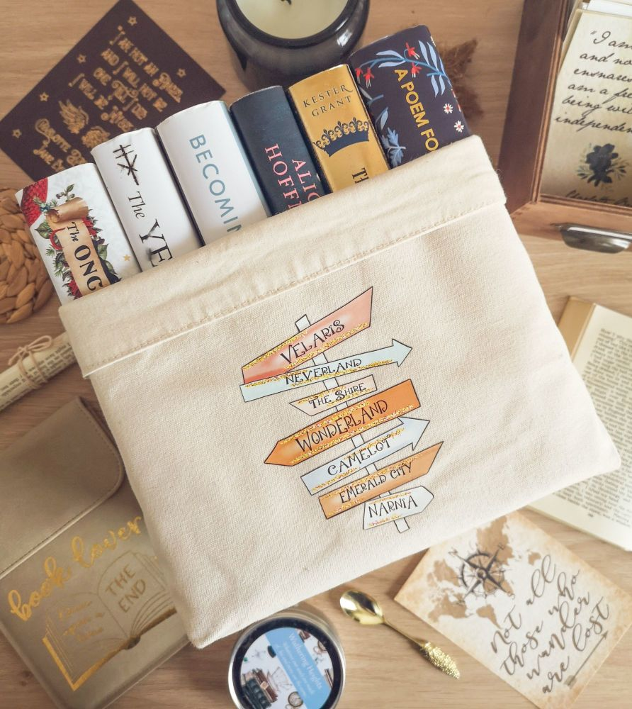 Magical Book Places Canvas Organiser (Large) Cream