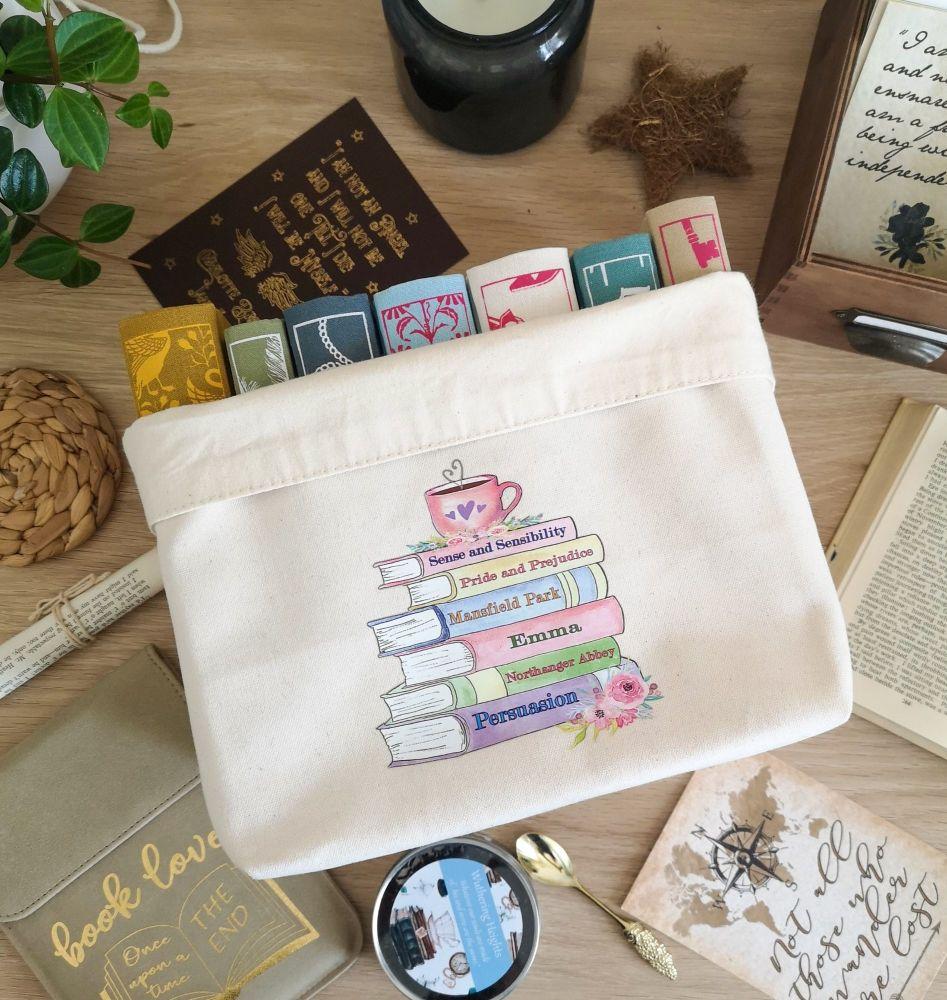 Jane Austen Canvas Book Basket