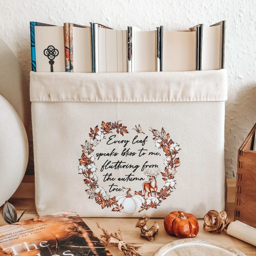Autumn Book Basket With Emily Bronte Quote