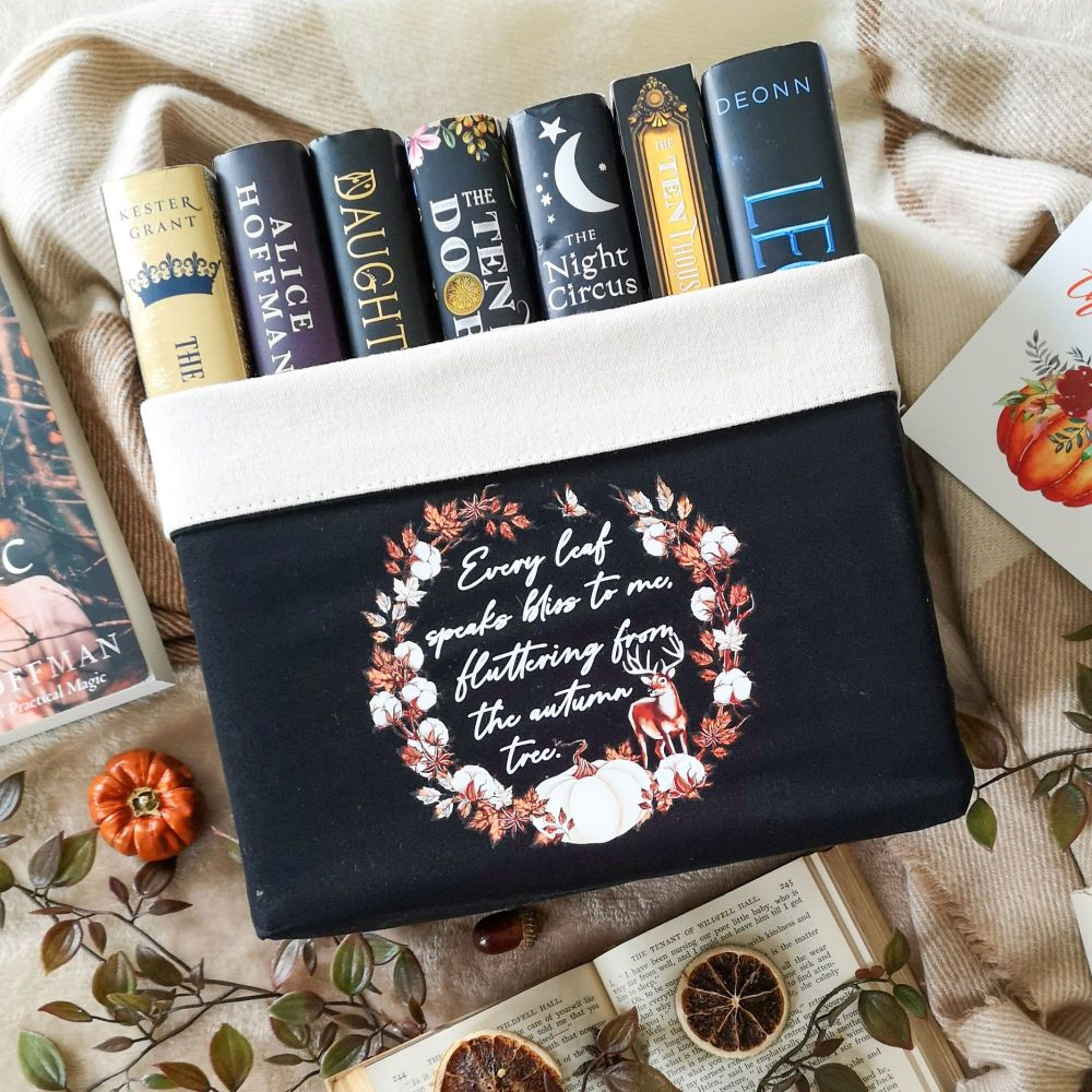 Autumn Book Basket With Emily Bronte Quote - Black book basket