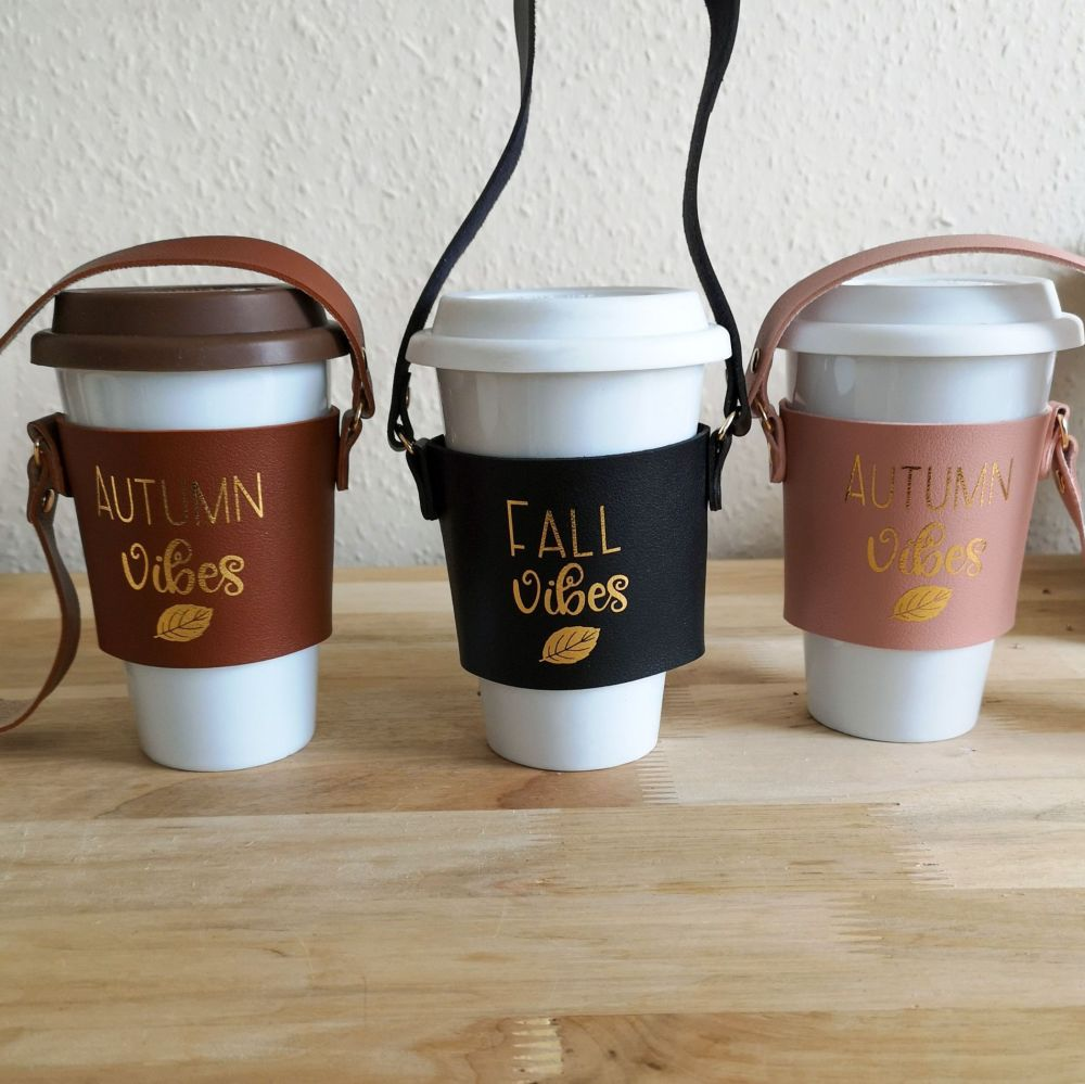 Coffee Cup Sleeve, Autumn/Fall Vibes Leaf Design