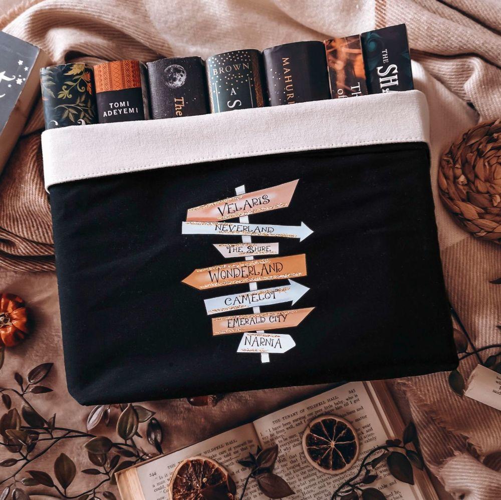Magical Book Places Canvas Organiser (Large) Black