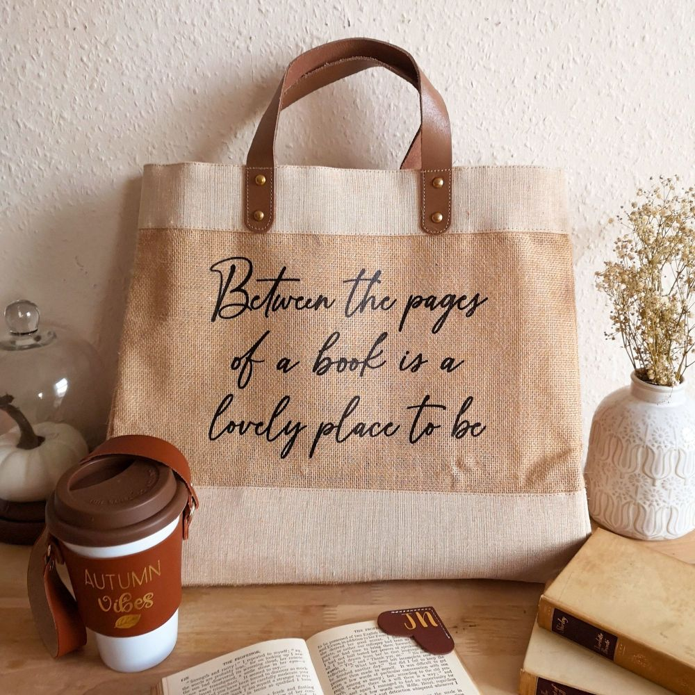 Book Quote Luxury Natural Jute Shopping Bag