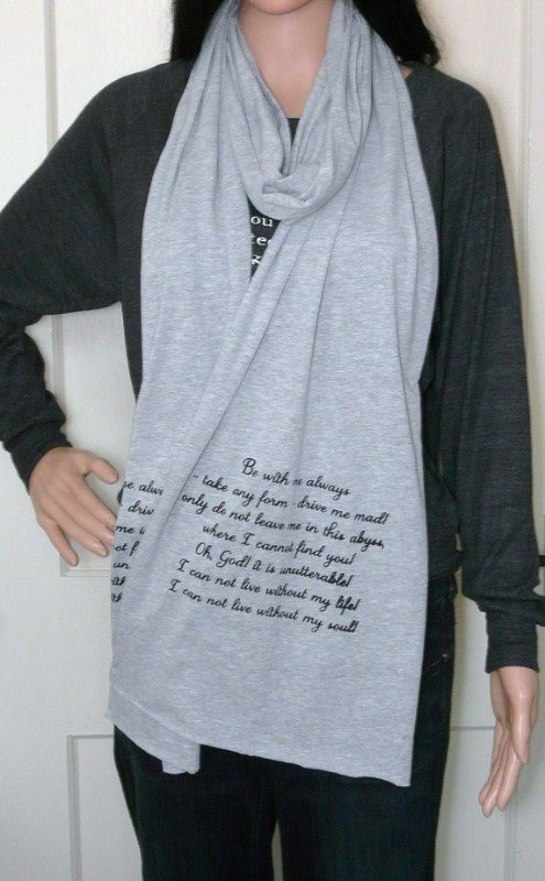 wuthering heights long grey scarf