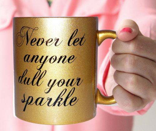 Never let gold glitter mug