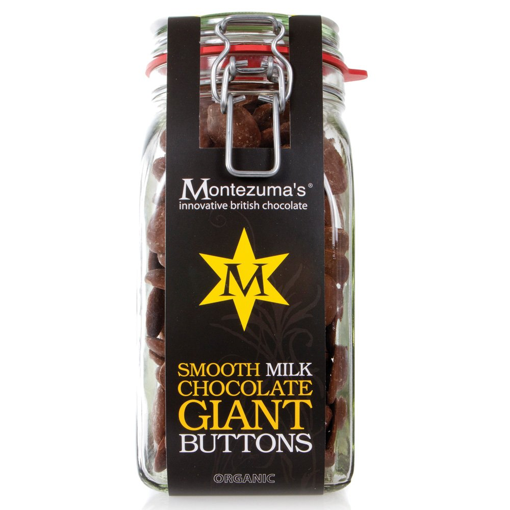 Tuck into this Organic Milk Chocolate Giant Button Jar