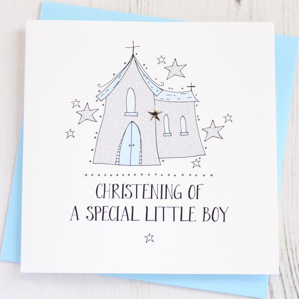 Sparkling Boys Christening Card