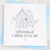 <!-- 001 -->Boy's Sparkling Christening Card
