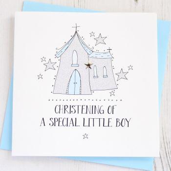 Boy's Sparkling Christening Card