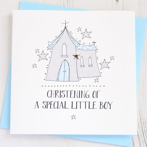 Sparkling Boys Christening Card