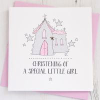 Girl's Sparkling Christening Card
