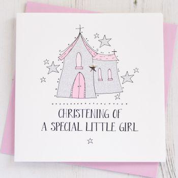 Girl's Sparkling Christening Card