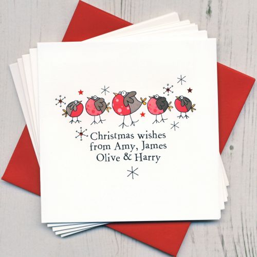 Personalised Christmas Robins Cards