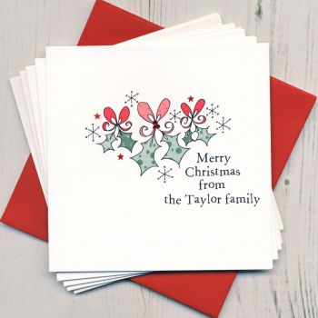 Personalised Christmas Holly Cards