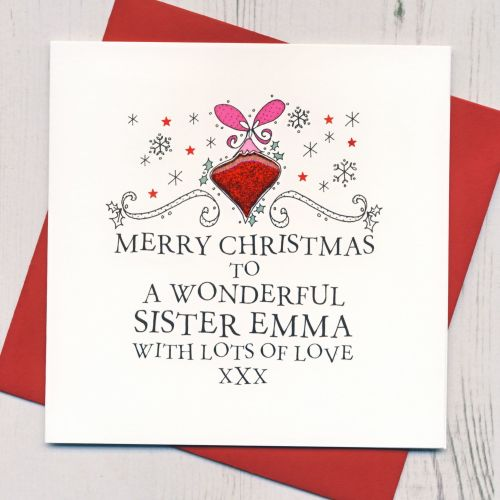 Personalised Bauble Christmas Card