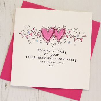 Personalised Happy First Anniversary Card
