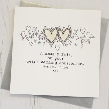 Personalised Happy Pearl Wedding Anniversary Card