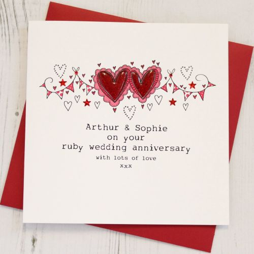 Personalised Happy Ruby Wedding Anniversary Card