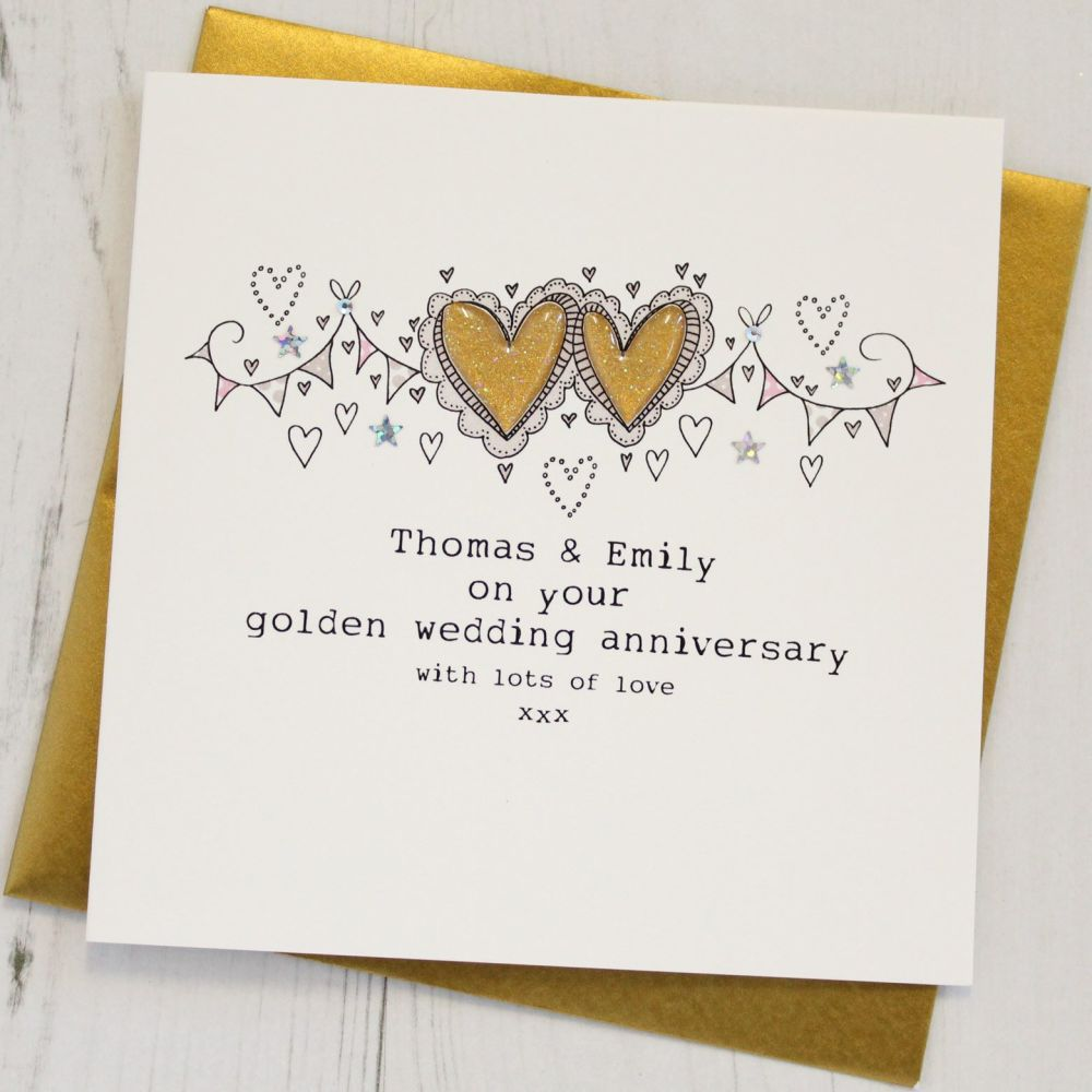 Personalised Happy Golden Wedding Anniversary Card