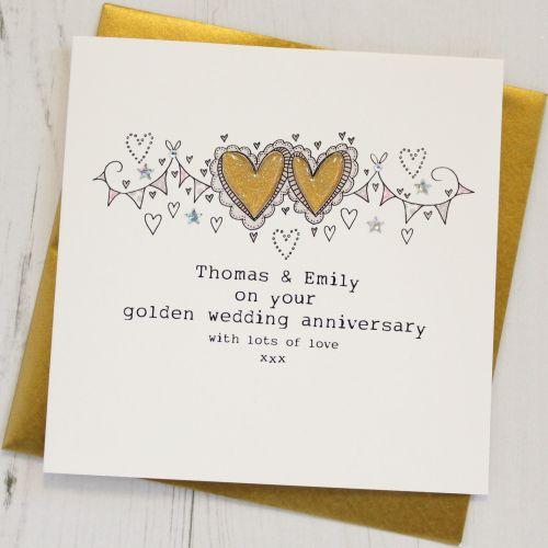 Personalised Happy Golden Wedding Anniversary Card