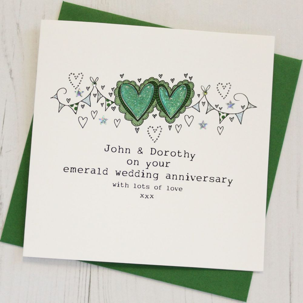 Personalised Happy Emerald Wedding Anniversary Card