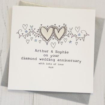 Personalised Happy Diamond Wedding Anniversary Card