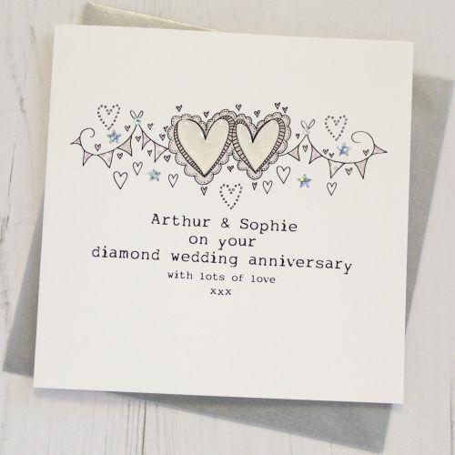 Personalised Happy Diamond Wedding Anniversary Card