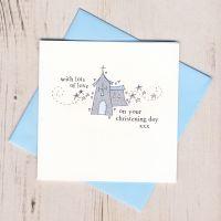 <!-- 001 -->Boy's Sparkly Christening Card