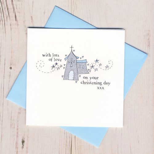 Boy's Sparkly Christening Card