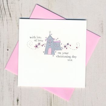 Girl's Sparkly Christening Card