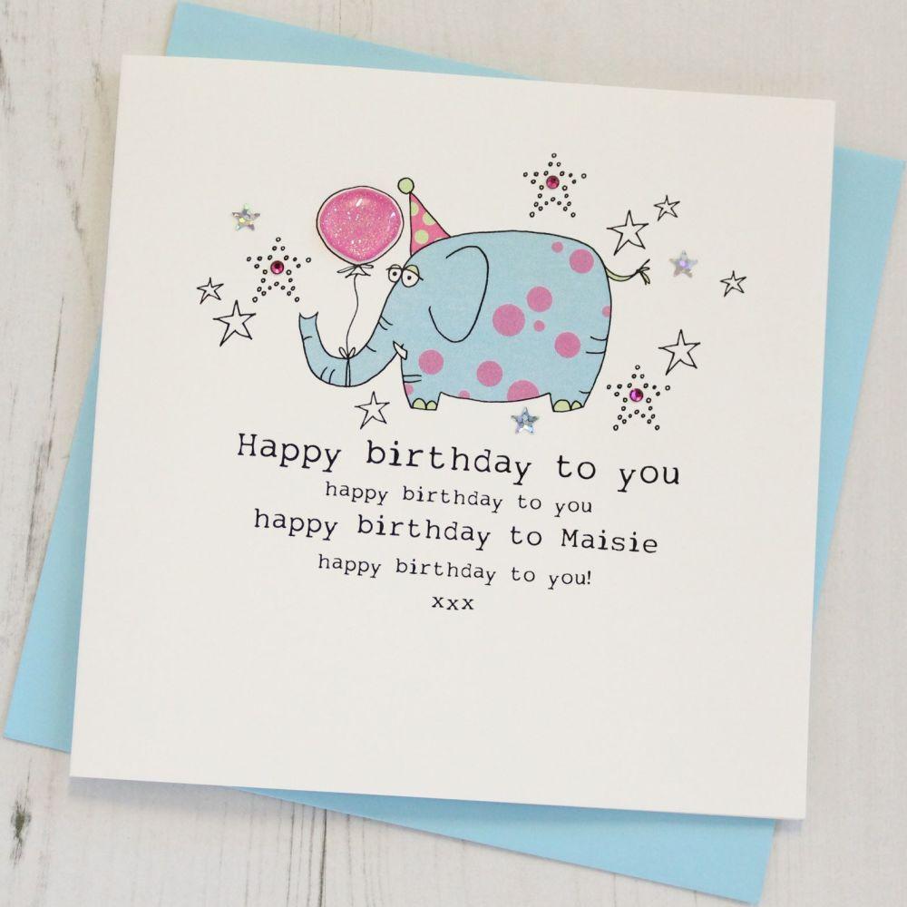 Personalised Elephant Happy Birthday