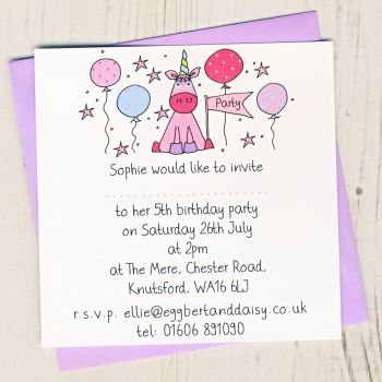 Pack of Unicorn Party Invitations