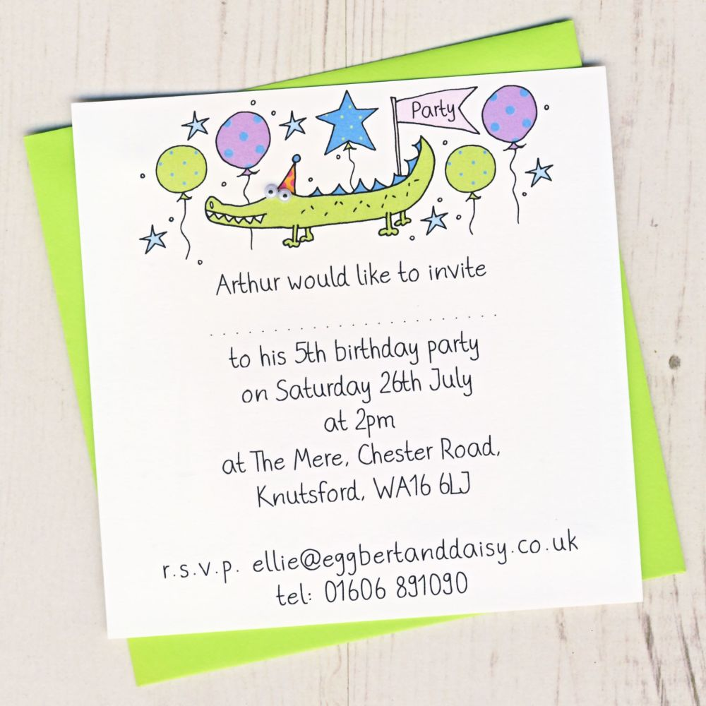 Crocodile Party Invitations