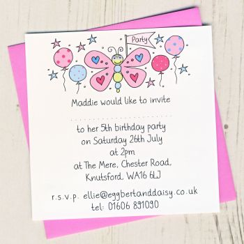 Pack of Butterfly Party Invitations
