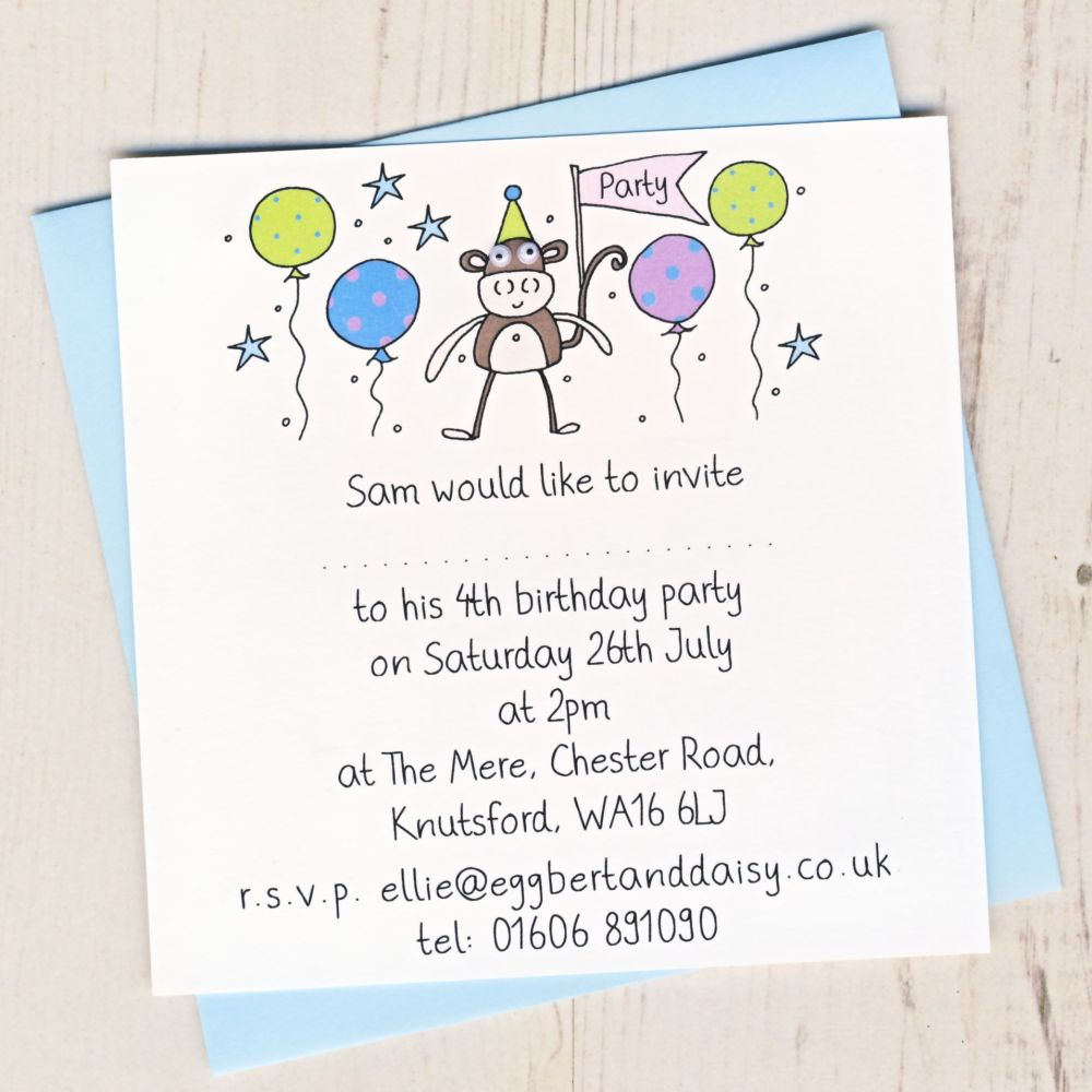 Pack of Monkey Party Invitations