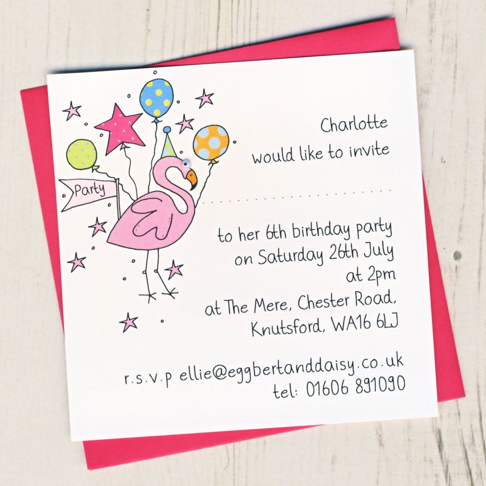Pack of Flamingo Party Invitations