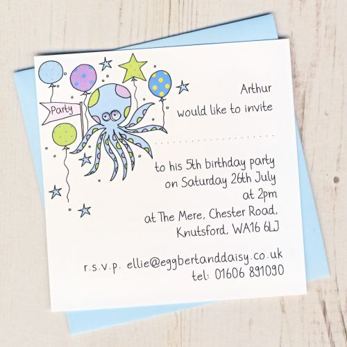 Pack of Octopus Party Invitations