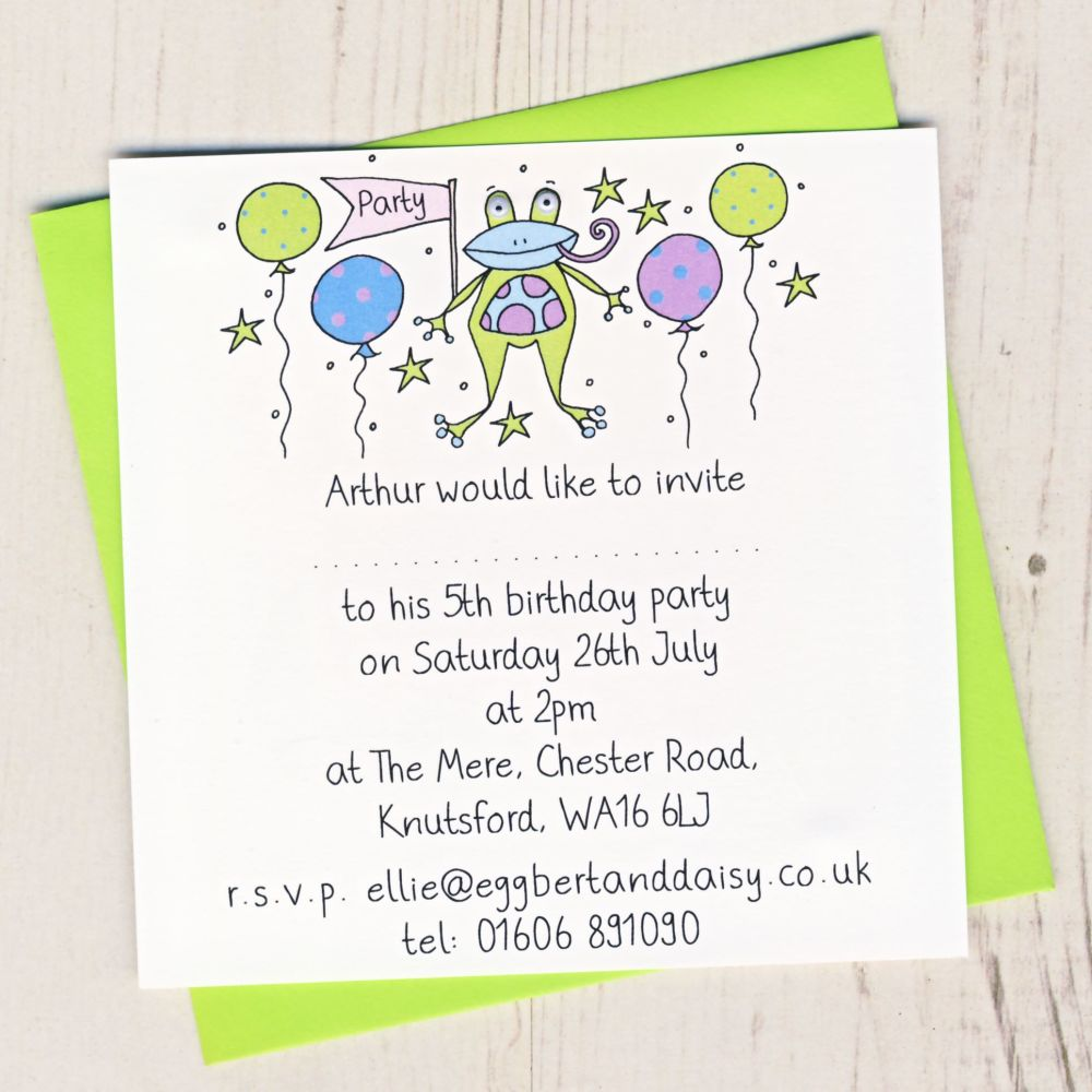 Pack of Frog Party Invitations