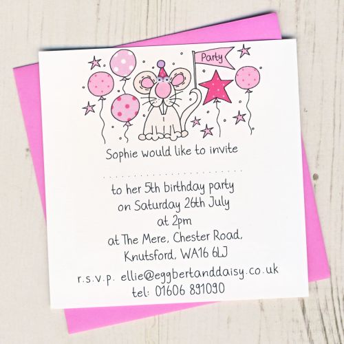 Pack of Mouse Party Invitations