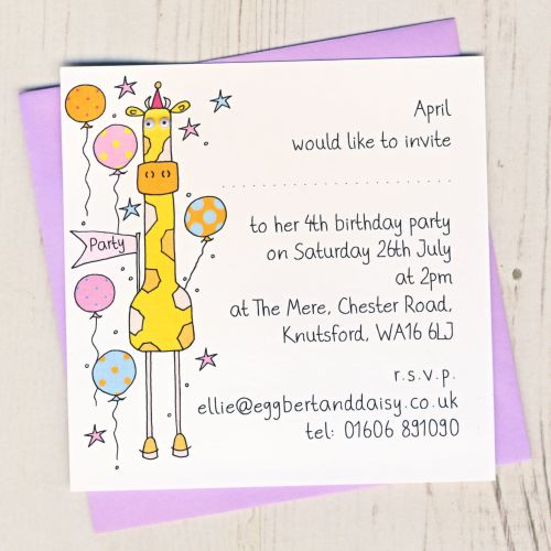 Pack of Giraffe Party Invitations