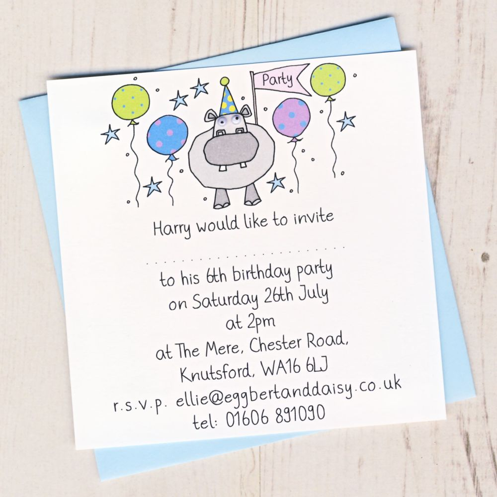 Pack of Hippo Party Invitations