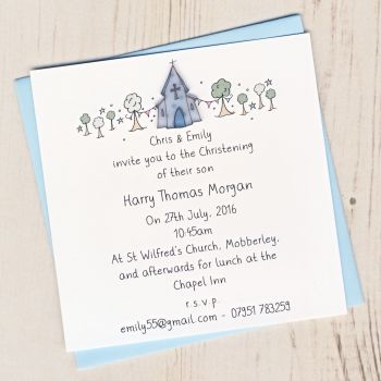 Pack of Boy's Christening Invitations