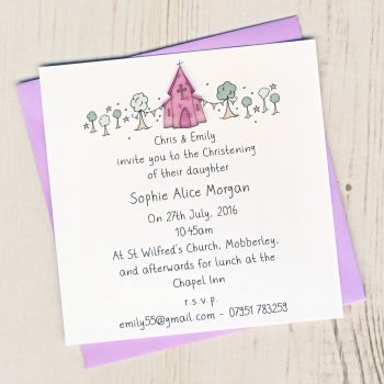 Pack of Girl's Christening Invitations
