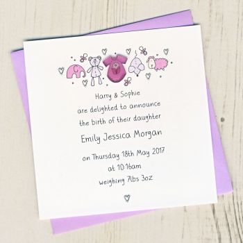 Pack of Baby Girl Birth Announcement Cards
