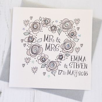 Personalised Wedding Flowers Card