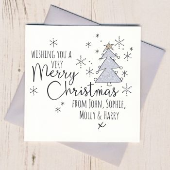 Personalised Glittery Tree Christmas Cards