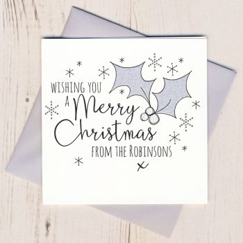 Personalised Glittery Holly Christmas Cards